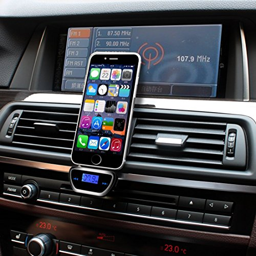 DLAND Wireless Bluetooth Handsfree FM Transmitter with LCD Display, Can Connect with All Kinds of The Cellphones and Transmit The Cellphone Music to The Car.