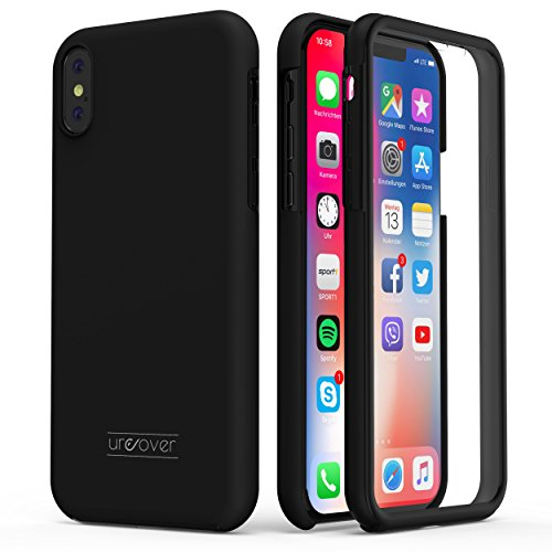 Urcover Touch Case 2.0 kompatibel mit Apple iPhone XS Max Hülle I Original berühmt durch Galileo I Hard-Edition I QI-fähig I Rundum 360° Schutzhülle I Crystal Clear Case Schwarz