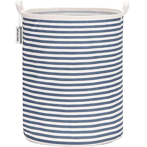 Sea Team - Cesta de almacenamiento de lona de arpillera cilíndrica de 19,7 pulgadas con revestimiento impermeable de gran tamaño, tela de algodón de ramio, plegable, con diseño de rayas azules