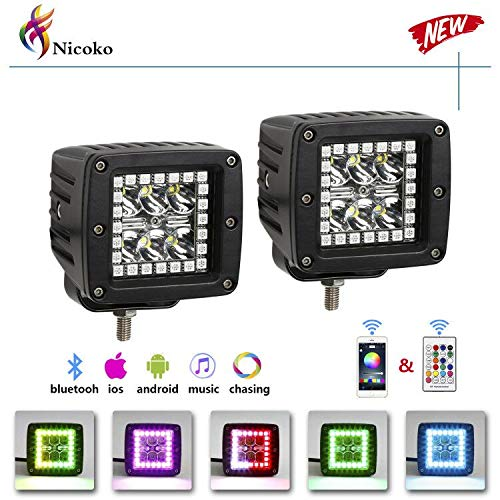 "Pack 2 Nicoko 3"" 18w led work light bar square pods with RGB Chasing Halo 10 solid colors over 72 Flashing modes Driving led Lights Fog Lamp Offroad Lighting for Suv Ute Atv Truck 4x4 Boat"