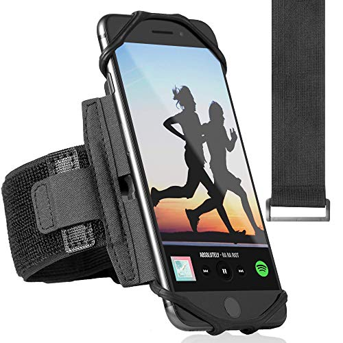 360° Rotatable Premium Sports Running Armband for All Phones: iPhone X XR XS Max 8 Plus 7 Plus 6, Samsung Galaxy A8 S10 S9 S8 Edge, LG, HTC, Pixel; Universal Cellphone Holder + Free Extender Strap