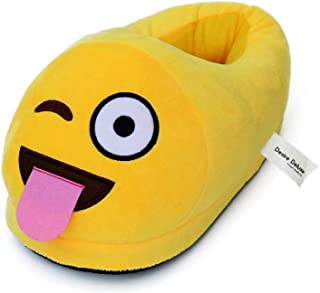 Desire Deluxe Emoti Slippers Tongue Shape Funny Novelty Gift Winter Smiley Plush Indoor Universal Size Emoticon Footwear f...
