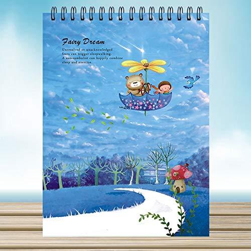 A4 50 Vellen Tekening Schetsboek Notebook Spiraal Schetsen Pad Wit Papier Planner Reizigers Note Book Cartoon Kladblok gelukkig vliegen
