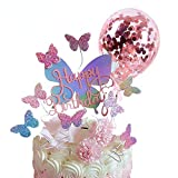 Pack of 12, Gradient Sequise Butterfly Happy Birthday Cake topper, Rose Gold Confetti Balloon Wedding Baby Shower Party cupcake decoration-Gradient
