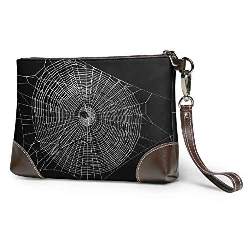 Embrague de cuero Suave Impermeable Clutch Wristlet Leather Black Arañas y telarañas rotas Moda Wristlet Wallet con cremallera para mujeres niñas