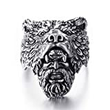 Bear Ring for Men, Norse Viking Bear Head Ring, Bear Man Warrior Rings, Retro Bear Totem Rings, Bear Amulet Ring, Silver Black Biker Ring, Punk Animal Bear Jewelry for Men Boys (11)