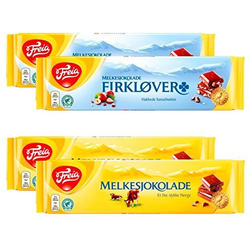 Norwegische Schokoladepaket 4er Pack /2 x Vollmilch, 2x Nuss, 1 x Norge Sticker