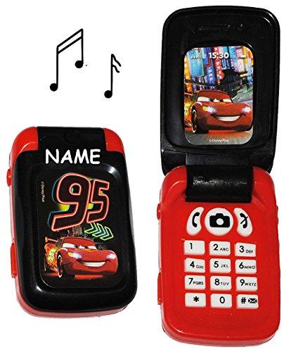 alles-meine.de GmbH Handy mit Sound - Disney Auto - Cars - incl. Name - für Kinder / Jungen - Autos Kinderhandy / Spielzeughandy - Spielzeugtelefon - Klapphandy Telefon Lightning..
