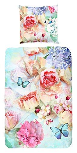 Good Morning 4829-P, 135Cm Copripiumino Singolo Con Fiori E Farfalle Colorati, 100% Cotone, Multicolore, 200X 135X 0,5Cm