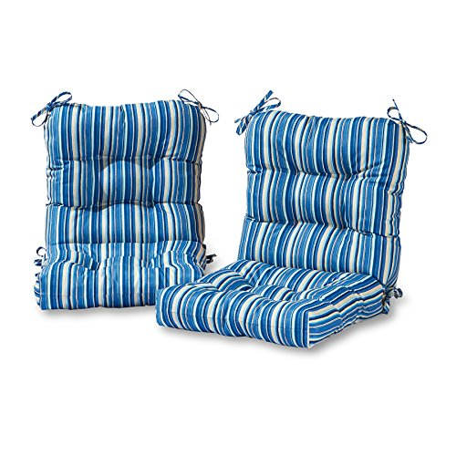Greendale Home Fashions AZ6815S2-SAPPHIRE Steel Blue Stripe Outdoor Chair Cushion (Set of 2)