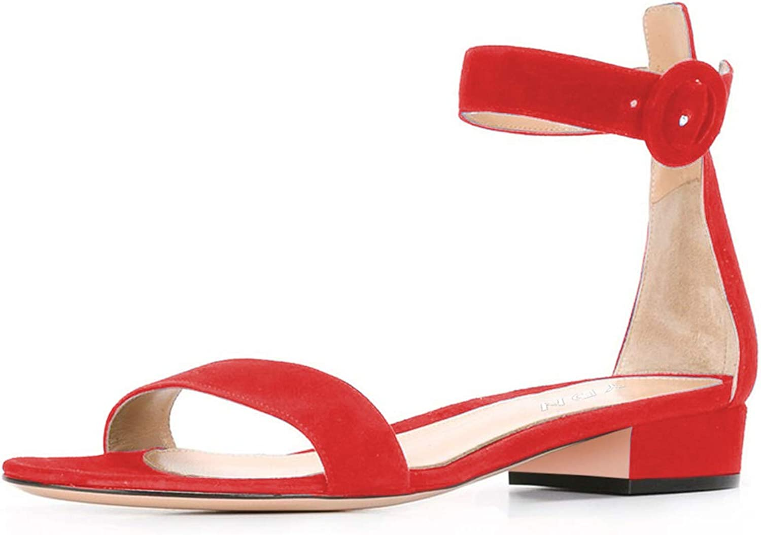YDN Women Low Heeled Ankle Strap Sandals Open Toe Block Flat shoes with Buckle Red 8.5