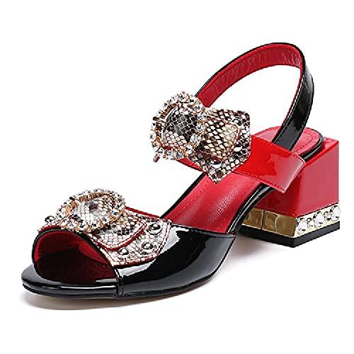 SHENGYAO Tacones Sandalias Sandalias Strack Strack Hebilla, Zapatos de cancha de tacón bajo Cuadrado para la Fiesta de graduación y Trabajo de Oficina, más tamaño,36