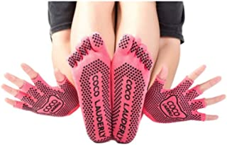 Calcetines de yoga Yoga Fitness Adult Slip Sports Four Seasons Finger Cómodo Wear Cotton Set (Color : Pink)