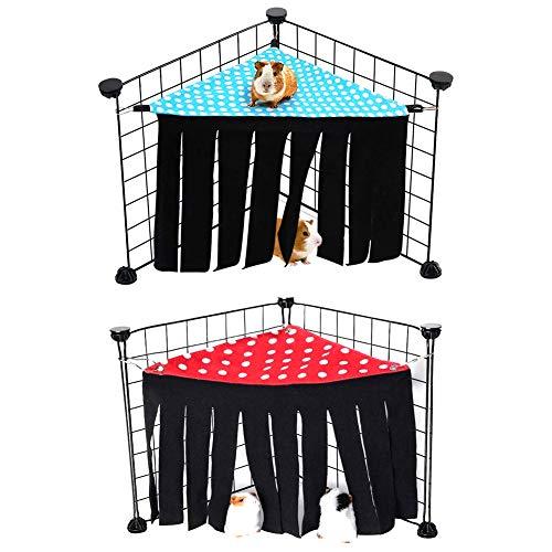 2St Kleintier Zelt, Kleintier-Hamster-Zelt, Hängematte Zelt Kleintiere, für Meerschweinchen, Chinchilla, Igel, Ratten, Eichhörnchen, Frettchen, Zwerghasen (Rot + Blau )
