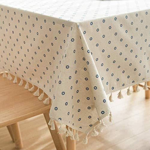 NIANXINN Rectangular de Lino de algodón de Encaje Manteles, a Prueba de Polvo del patrón de Arrugas Tabla Libre del paño con la Flor Lavable Tabla Protector de Mesa