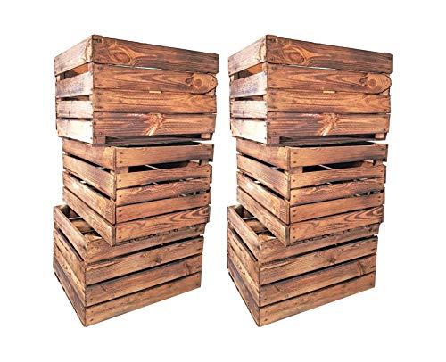 Geflammte Holzkisten im Set-Angebot: Originale, Vintage Obstkisten Apfelkisten aus dem Alten Land zum Möbelbau oder Dekoration mit den Maßen 50 x 40 x 30cm (6er Set)
