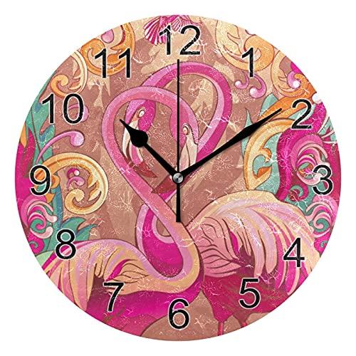 Gokruati Reloj de Pared silencioso,Reloj de Cocina,Relojes de Cuarzo silencioso Que no Hace tictac,para Sala de Estar,dormitorios,(Diámetro: 25 cm),Paraíso para la Pared de los flamencos