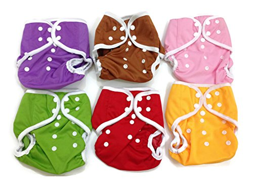 BB2 6 pcs Baby One Size Solid Leak-free Snaps Cloth Diaper Cover for Prefolds (One Size, Girls - B (6 Pieces))