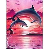 MXJSUA Pintura de Diamante DIY para Adultos Pintura de Taladro Cuadrado Completo con Kits de Diamantes Arte 5D para decoración de Pared Delfines saltadores Rojos 40x50cm