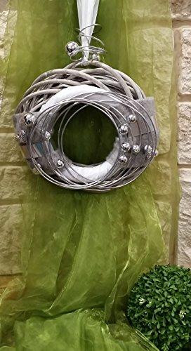 HIKO-EVENTDEKO Doppelkranz Wandkranz Nr.15 Türkranz 30 cm mit Filz grau Silber modern Türdeko
