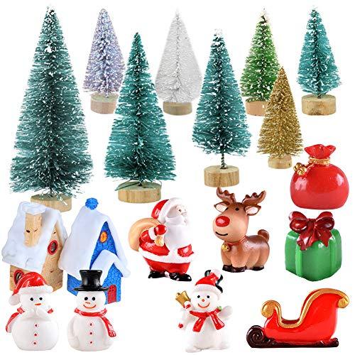 Adornos en Miniatura de Navidad Mini Figuras de Estilo de Navidad Árbol de Navidad de Papá Noel Decoración de Navidad de Dibujos Animados Lindo para Decoración de Fiesta de Jardín para el Hogar