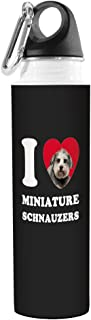 Tree-Free Greetings VB49089 I Heart Miniature Schnauzers Artful Traveler Stainless Water Bottle, 18-Ounce, Grey Close-Up