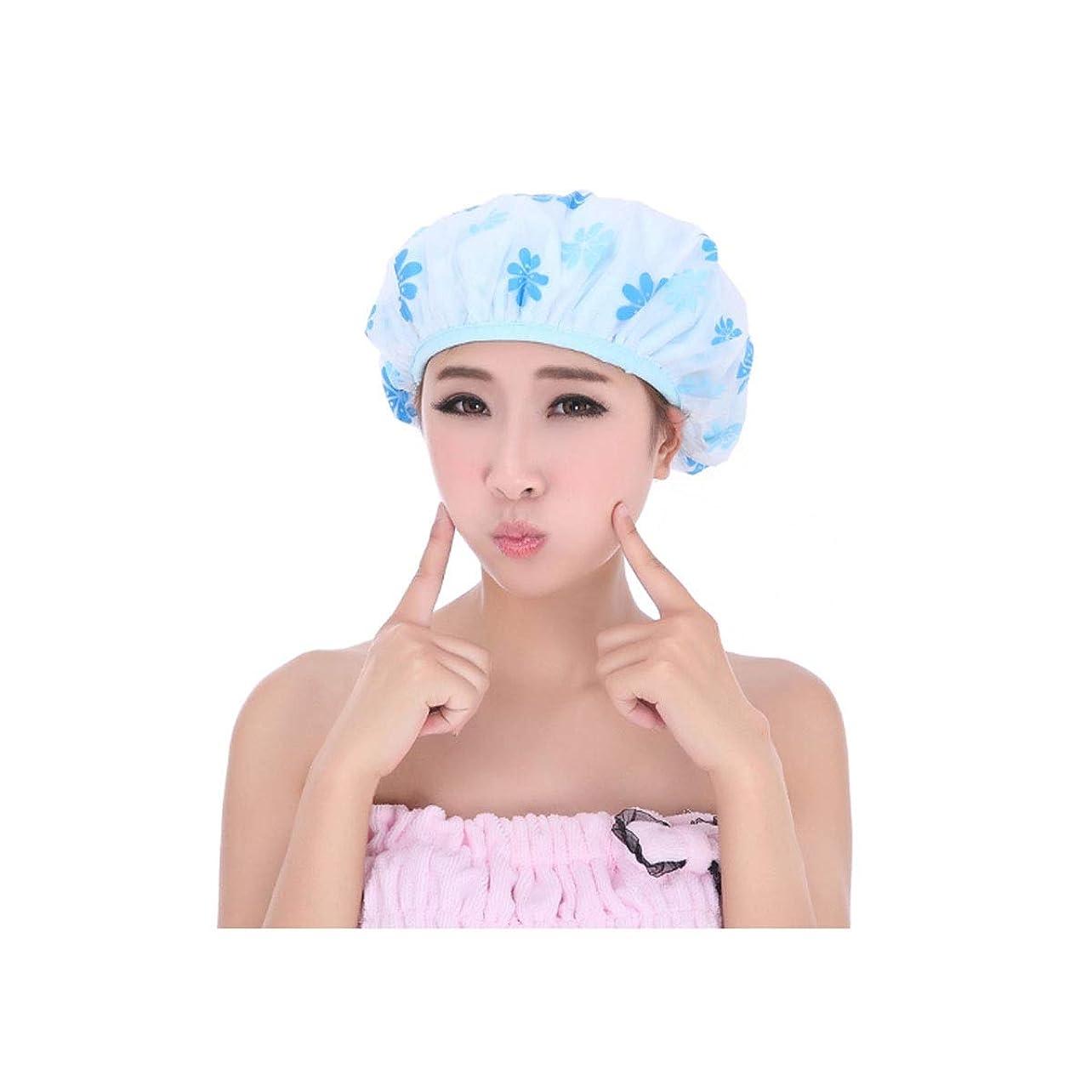 石化する宣言常習的HENGTONGTONGXUN シャワーキャップ、シャワーキャップ防水シャワーキャップ、成人女性のシャワーキャップ、スリーインワン拡大シャワーキャップ、二層オイルキャップ、ヘアマスクシャワーキャップ ブルー、ピンク、 (Color : Blue)