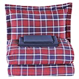 EMME Bed in A Bag 5-Piece Bedding Comforter Set Luxurious Brushed Microfiber Goose Down Alternative Comforter Soft and Comfortable Machine Washable (Twin/Twin XL, Red Plaid)