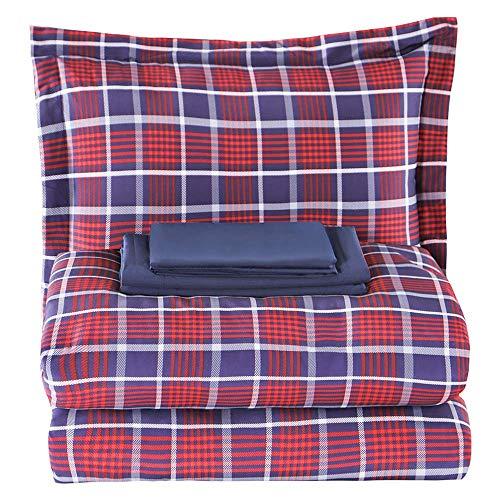 EMME Juego de edredón Bed-in-A-Bag, Escocés Rojo, Twin/Twin XL