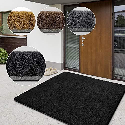 casa pura Tapis Coco Premium | Tapis Fibre Naturelle, Excellent Paillasson Exterieur et Intérieur | Tapis d'Entrée Résistant, Absorbant | Nombreuses Tailles | Epaisseur 17 mm - 50x80 cm - Noir