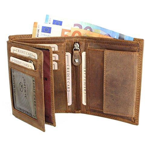 ALMADIH ® Portemonnaie Hochformat Rindsleder - 10 Kartenfächer mit Geschenkbox (P2H Braun Antik) Leder Herren Börse Unisex Geldbörse Geldbeutel Portmonee Brieftasche braun Vintage (P2H Dunkelbraun)