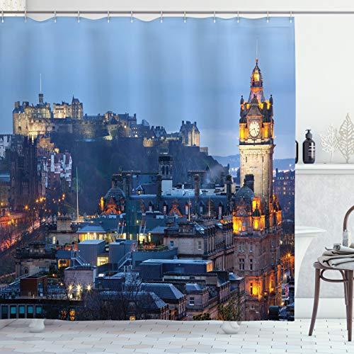 ABAKUHAUS Schottland Duschvorhang, Überblick über die Stadt Stadt, Leicht zu pflegener Stoff mit 12 Haken Wasserdicht Farbfest Bakterie Resistent, 175x200 cm, Mehrfarbig