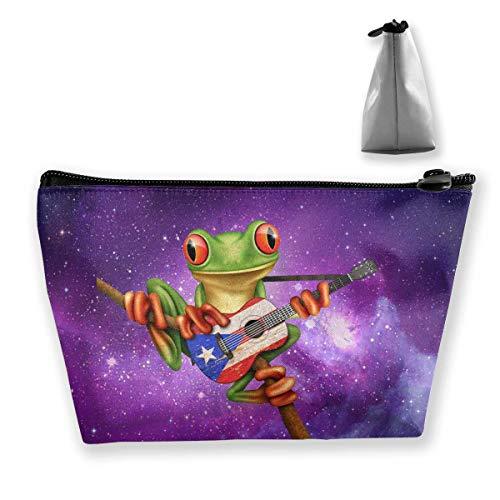 wenxiupin Tree Frog Playing Puerto Rican Guitar Portable Makeup Receive Bag Storage Large Capacity Bags Hand Travel Wash Bag