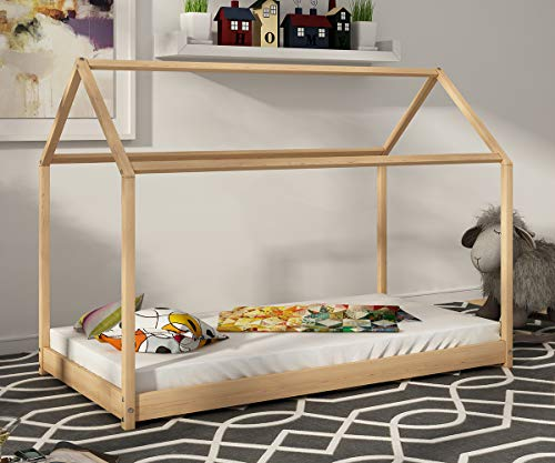 Yulie Lit Enfant Bébé Maison Cadre Structure Lit Bois Cabane 160x80cm Cadre de Lit Enfant