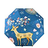 Stay-Here Umbrellas Women'S Umbrella Oil Painting 3 Folding Parasol Lady Portable Girl Gift For Kids,Red