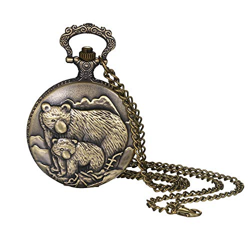 Lancardo Reloj de Bolsillo para Hombre Mujer Unisex Reloj de Correa Dial de Escala de Tira Números Caja de Aleación Decorado de Animales Oso Viejo Amor de Padre Reloj de Color Bronce NO Impermeable