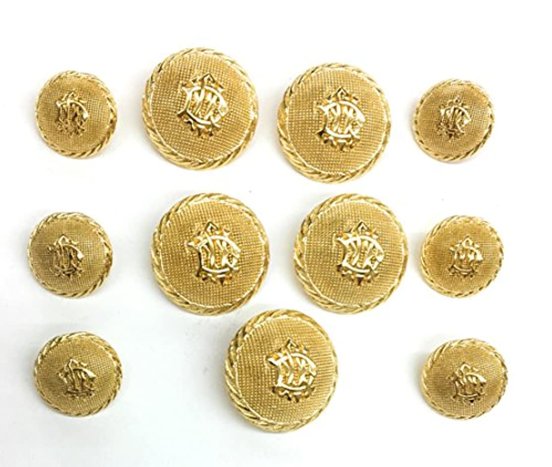 11 Dome Gold Buttons Sets ~Crest 14kt Plated