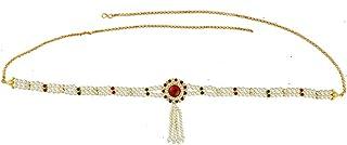 Anuradha Art Maroon Colour Round Shape Designer Belly Chain for Women/Girls