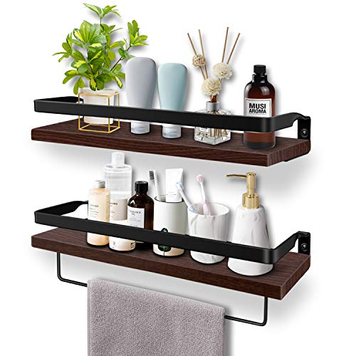Soraken Floating Shelves, Wall Shelves Wall Mounted Bathroom Shelf, Rustic Wood Wall Storage Shelves for Kitchen, Bathroom, Living Room and Bedroom Set of 2 with Removable Towel Holder-Vintage Black