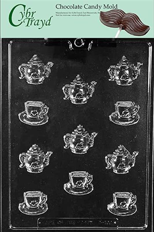 Cybrtrayd Life Of The Party D100 Bite Size Tea Pot Kettle Demi Tasse Cup Chocolate Candy Mold In Sealed Protective Poly Bag Imprinted With Copyrighted Cybrtrayd Molding Instructions