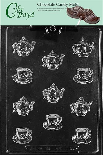 Cybrtrayd Life of the Party D100 Bite Size Tea Pot Kettle & Demi Tasse Cup Chocolate Candy Mold in Sealed Protective Poly Bag Imprinted with Copyrighted Cybrtrayd Molding Instructions
