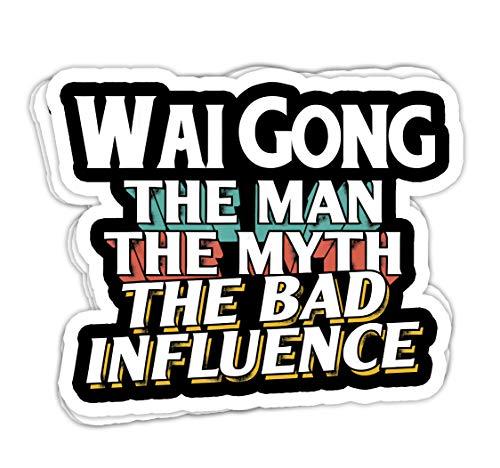 Para hombre Wai-Gong regalo para el hombre mito mala influencia abuelo – 4 x 3 pegatinas de vinilo, adhesivo para portátil y botella de agua (