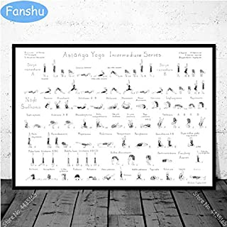 ZINNI-Painting & Calligraphy - Art Poster Yoga Ashtanga Primary Chart Pose Beginner Woman Man Gym Posters and Prints Wall ...