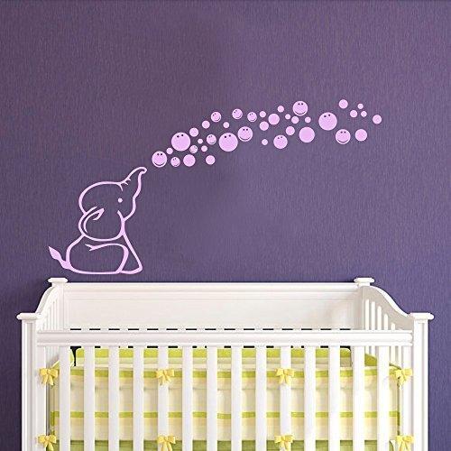 Adhesivo decorativo de vinilo para pared, diseño de elefante, burbujas, habitación de niños, decoración de habitación de bebé, 18 pulgadas de alto x 34 pulgadas de ancho, color gris oscuro para decoración de sala de estar
