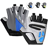 MAJCF Cycling Gloves Men Bicycle Gloves Half Finger 5MM Gel Pad Shock-Absorbing Mountain Bike Gloves, Anti- Slip Road Riding Gloves Breathable Sports Gloves Accessories for Men/Women (Gray&Blue, L)