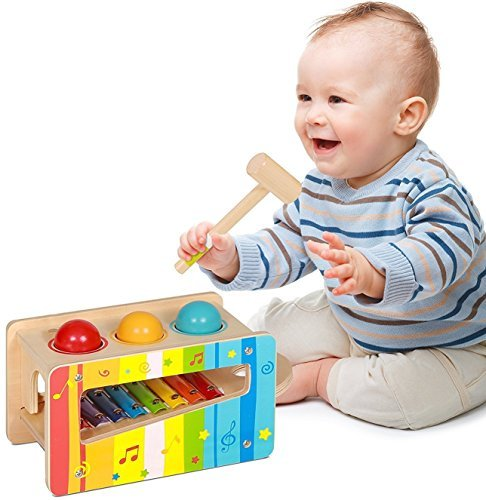Pidoko Kids Pound and Tap Bench with Slide Out Xylophone - Toddlers Wooden Early Educational Hammer and Musical Toys for 1 Year Old and up