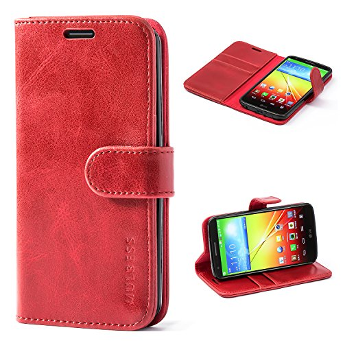 Mulbess Handyhülle für LG G2 Hülle Leder, LG G2 Handy Hüllen, Vintage Flip Handytasche Schutzhülle für LG G2 Case, Wein Rot