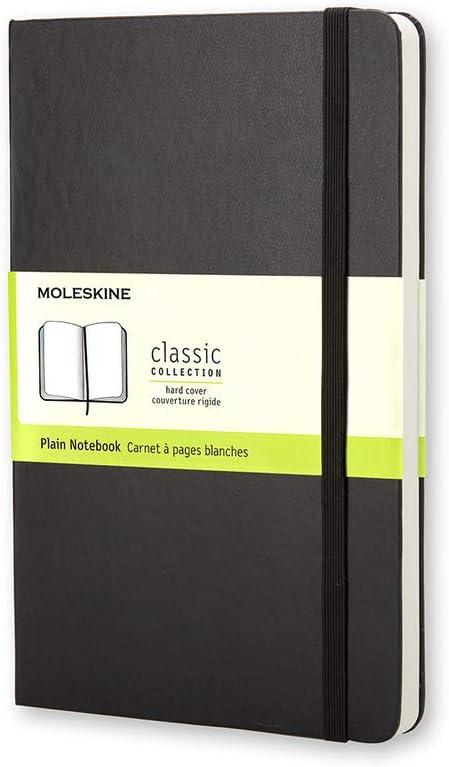 Moleskine - Cuaderno Clásico con Hojas Lisas, Tapa Dura y Cierre Elástico, Color Negro, Tamaño Pequeño 9 x 14 cm, 192 Hojas