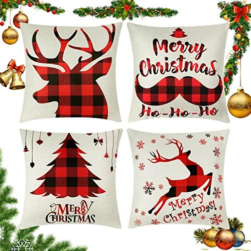 Wasenir Fundas de Almohadas Navideñas, 4 Piezas Fundas para Cojines 45x45cm Navidad, Papá Noel, para el Hogar, Decorativos...