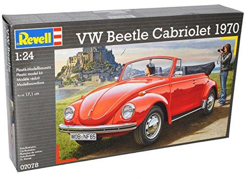 Revell Volkwagen Käfer Cabrio 1970 Rot Offen 07078 Bausatz Kit 1/24 Modell Auto mit individiuellem Wunschkennzeichen